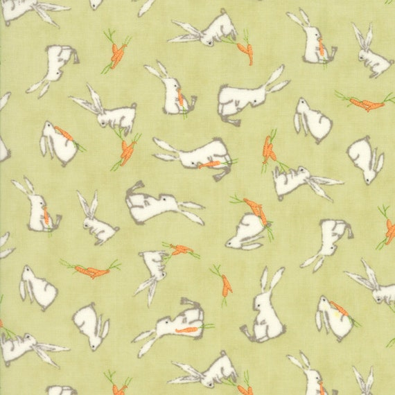 Bunnies and Carrots on Light Green, Darling Little Dickens by Lydia Nelson of Dreamy Quilts For Moda Fabric by the Yard 49001 13