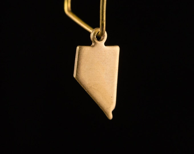 Raw Brass Tiny Nevada Blank State Charm Drops 14x7mm (6) chr228QQ
