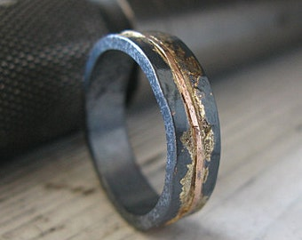 Mens Wedding Band Mens Wedding Ring Oxidized Ring Black Gold