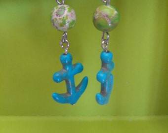 Turquoise anchor earrings with Imperial turquoise