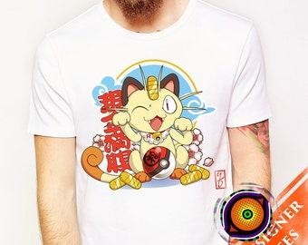 Maneki Meowth - Pokemon T-Shirt Team Rocket Lucky Cat Anime Maneki Neko Shirt