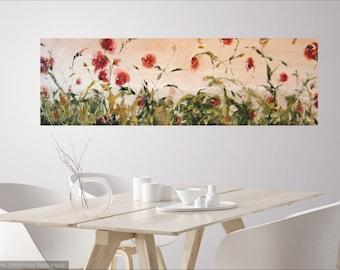 large original abstract floral oil painting,contemporary oil painting,impasto art,abstract flower art, large wall decor, janice trane jones