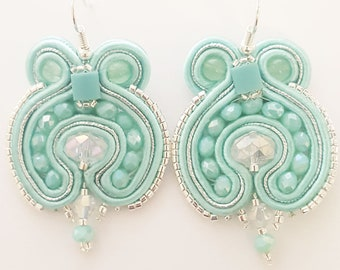 Soutache earrings in mint milk and silver color tone, very light and chic