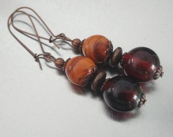 Copper Earrings: - Blueberry and chocolate caramel coffee - Lampwork Glass