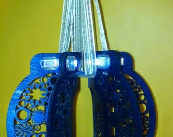 Mini Chandelier- Laser Cut Wood Dark Blue with Decor and Ribbon Hanger
