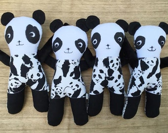 Linen Panda Soft Toy - Hand painted & Embroidered