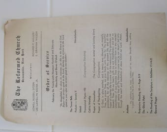 Vintage Reformed Church Bronxville, New Your Service Paper 1961