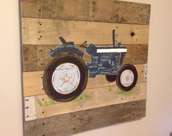 Tractor Art, blue Tractor,20x20,Pallet Art,Rustic Farm Art,natural wood,Painting,Tractor sign,Rustic wall art,rustic decor,pallet wood,ford
