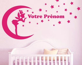 Decal Decoration XXL fairy on Moon, stars + name 75 x 140 cm