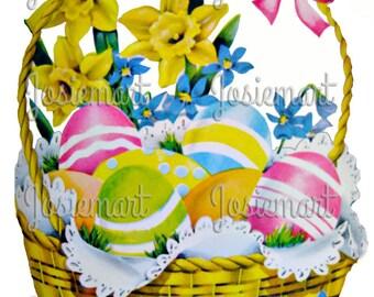 Easter Egg Basket Vintage Digital Download Vintage Image Pink Collage Large JPG and PNG