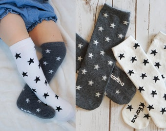STAR SOCKS - PERSONALIZED, Knee High Star Socks, Toddler Socks, Toddler Knee Hight Socks, Baby Knee Highs