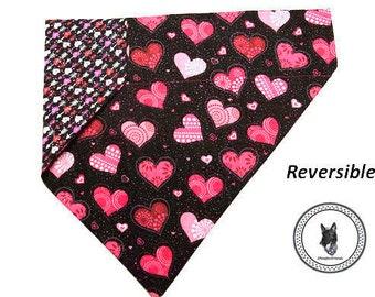 Valentine Dog Bandana - Hearts and Arrows - Reversible & Slide On