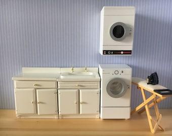 1/12th white laundry room set dryer washing machine-6pcs