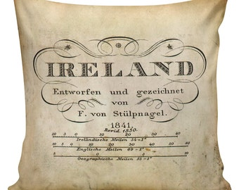 Decorative Cotton Pillow Cover Cushion Map of Ireland Typography Restoration Hardware Style #WB0233