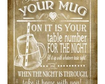 Grab a Mug- wedding favor sign - 5x7,8x10,11x14, 16x20 - instant download digital file - Rustic Vintage Collection