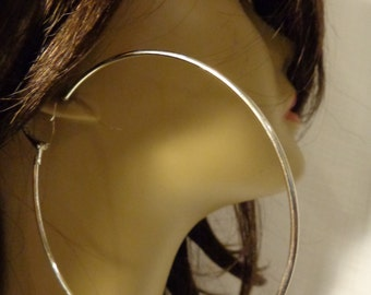 LARGE 3.5 inch Hoop Earrings SILVER tone Classic Thin Hoop Earrings