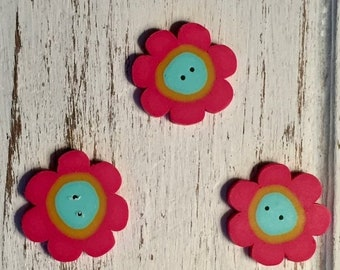"""SALE Flower Buttons, """"Rosy Blossom"""" Handmade Buttons by JABC, Set of 3 Buttons, Sewing, Cross Stitch, Quilting, Embellishments"""