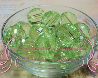 20mm Transparent Light Green Faceted Disco Acylic Beads Qty 10, Chunky Beads, Bubblegum Beads, Gumball Beads, Faceted Beads, Hexagon Beads