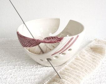 Personalized custom Option Wheel thrown Ceramic Yarn Knitting Bowl, White POTTERY blush dark pink twisted leaf - MADE to ORDER