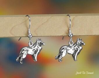 Sheepdog or Collie Earrings Sterling Silver Pierced Fishhook Earwires