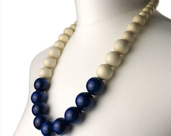Chunky Navy Blue and White Necklace | Navy bead necklace | Long Blue Chunky Necklace | Wooden bead necklace