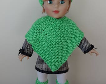 "Green Solid ""Limelight"" knitted 3-pc Poncho Set with Hat and Leg Warmers for 18"" American Girl Doll"