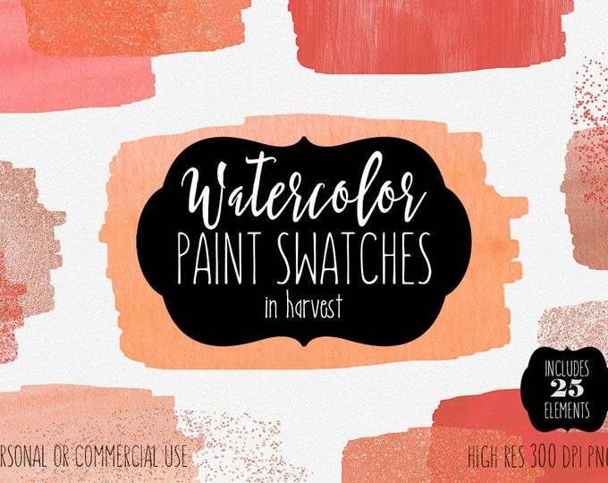 PEACH WATERCOLOR BRUSH Strokes Clipart Commercial Use Clip Art 25 Paint Swatch Fall Autumn Coral Orange Blush Confetti Textures Logo Graphic