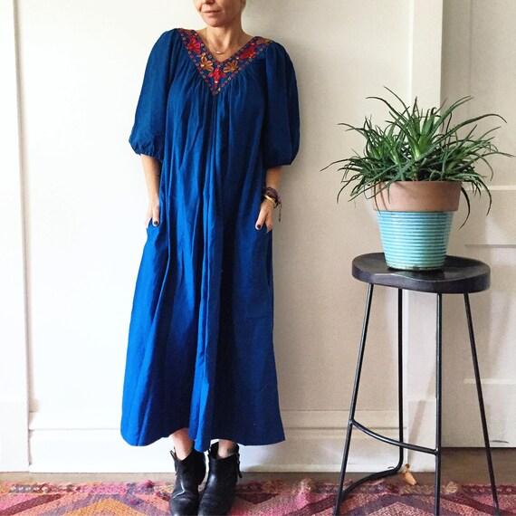 Vintage 70s Cotton Gauze Dress , BOHO Hippie India Dress , Mirrored India Dress , Banjara Dress