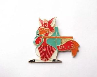 Fantastic Mr Fox Enamel Cartoon Animal lapel Brooch Pin Badge
