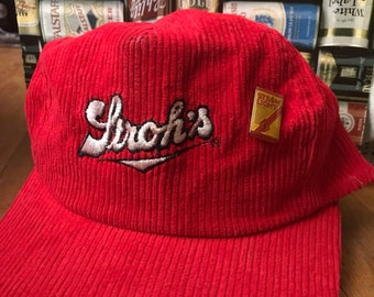 Vintage 80s Red Corduroy Stroh's Beer and pin hat as is m/l