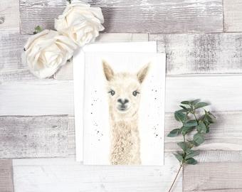 llama card, llama birthday, birthday card, alpaca card, alpaca birthday, llama invitations, animal cards, alpaca llama, llama art, handmade