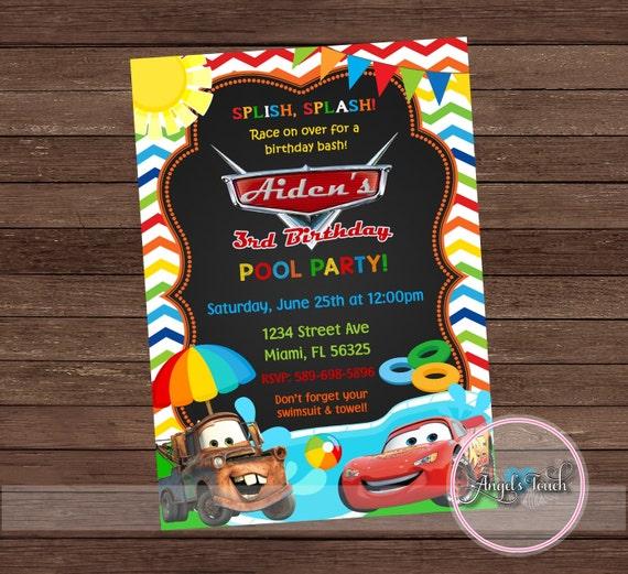 Cars Pool Party Invitation Disney Cars Birthday Invitation Cars