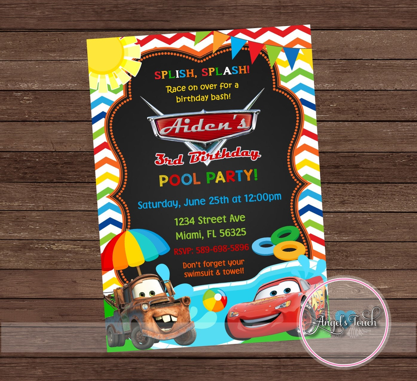 Cars Pool Party Invitation Disney Cars Birthday Invitation
