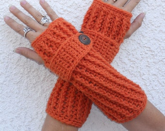 Pumpkin spice arm warmers, texting gloves, fingerless gloves, crochet arm warmers, hand warmers, winter gloves, button gloves, fall gloves