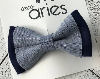 Denim and Navy Bow tie - Baby bow tie - newborn photos - first birthday - cake smash -ring bearer - blue bow tie - toddler bow tie - baby