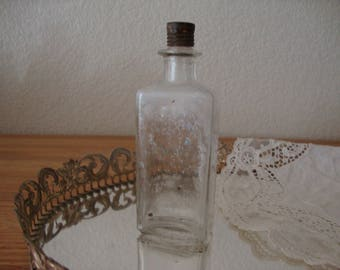 Vintage J. B. WILLIAMS & Co. Perfume Toilette Water or After Shave Cologne Bottle - Clear Glass - Metal Top - Medicine Bottle - Rustic