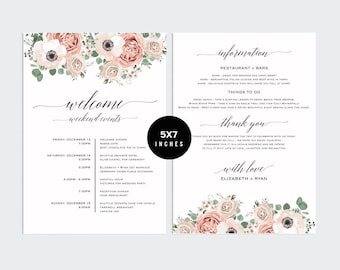 Itinerary template, wedding itinerary,wedding timeline, Itinerary,wedding welcome, printable itinerary, wedding schedule, welcome bag, PCC_5