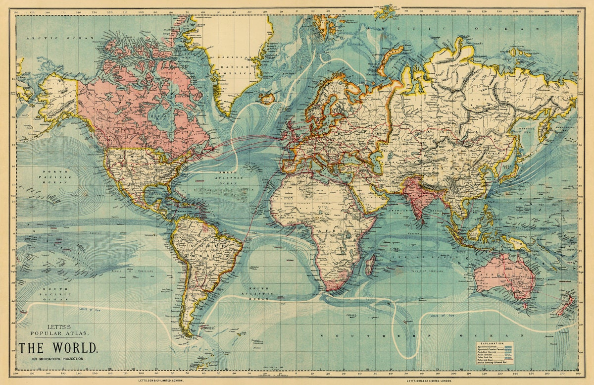 vintage map of the world 30 x 46 5 print on. Black Bedroom Furniture Sets. Home Design Ideas