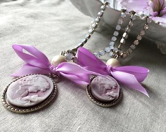 PAIR (x2) Romantic lilac cameos curtain tiebacks, lilac ribbon and rhinestones drapery holders - tie backs curtain