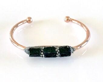 Raw Black Tourmaline Bracelet, Raw Boho Cuff, Raw Crystal Cuff, Black Tourmaline Jewelry, Gift or Her, Tourmaline, Protection, Grounding