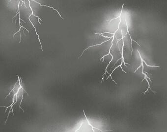 Fat Quarter Lighthouse Wonder Lightning Storm 100% Cotton Quilting Fabric Gray