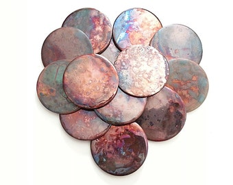 Raku fired Decorative tile: Coaster set 4 Vibrant copper reds rainbow color variations round abstract Art tile