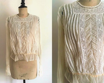 Antique Circa 1900s-1910s French Beige Tulle Blouse Openwork Embroidery and Religious Folds Flat/ Medium to Large Size