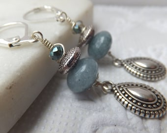 Antique Silver Zamac Boho and Aquamarine Gemstone Pendant Earrings with Czech glass hung from Silver Leverback  nickel free hooks