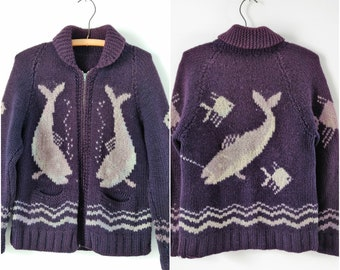 Vintage 1970s handknit cardigan with whales, size small / medium