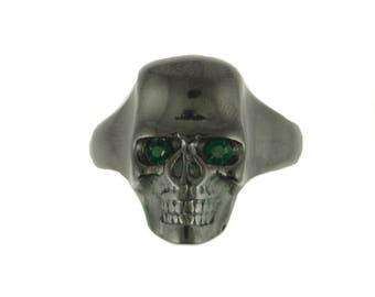 GentsBlack Skull With Imitation Emerald Eyes Ring Stainless Steel Motorcycle Biker Jewelry