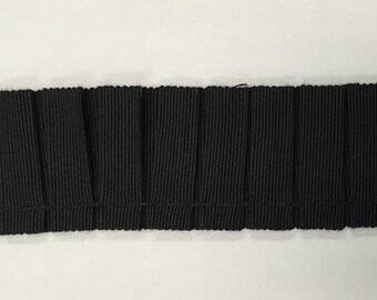 Black Grosgrain Pleated Trim - Home Decor Braid - Trim By The Yard