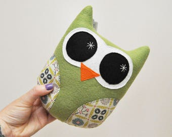 Olive Green Plush Owl With Floral Print Wings - READY TO SHIP