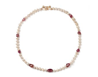 Hand Crafted 18 Kt Gold, Biwa Pearl & Tourmaline Necklace