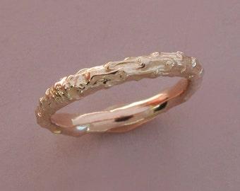 14k Rose Gold Twig Wedding Ring, Narrow Pine Branch